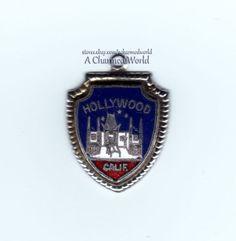 Vintage Enamel Sterling Silver Hollywood California Shield Charm - SOLD