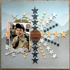 Who doesn't love stars? Love how these punched stars look for a background. This Pink Paislee Collection is perfect to document my son's momentous cub scout accomplishments. Baseball Scrapbook, Scrapbook Paper, 1st Responders, Craft Stash, Photo Layouts, Happy Campers, Scrapbooking Layouts, Scrapbooks, Projects To Try