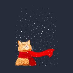 Cats Are Nocturnal I Love Cats, Crazy Cats, Cute Cats, Illustration Noel, Illustrations, Orange Cats, Here Kitty Kitty, Cat Drawing, Christmas Cats