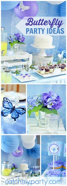 Such a pretty purple and blue butterfly garden70th birthday party! See more party ideas at CatchMyParty.com!