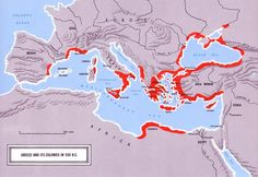 Areas settled by Greeks, circa 550 BC Greek History, European History, World History, Ancient History, Historical Architecture, Historical Maps, Greece Map, Geography Map, Greek Art