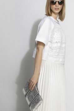 #aviu #ss14 #outfit  #skirt #plisse #hoodie #sequins #paillettes #embroidery #totalwhite