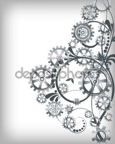 Mechanical background with floral elements — Stock Vector ...