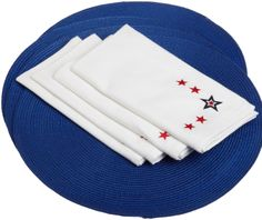 Amazon.com - DII Nautical Blue Placemat and Stars Embroidery Napkin Linen Set, Red/White and Blue - Kitchen Linen Sets #AmazonCart #DII #DesignImports