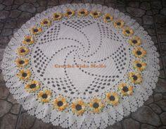 Crochê Cida Mello: Tapete redondo com flores de girassol