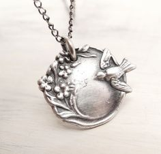 Bird Necklace Blossom Necklace pmc jewelry precious metal clay oxidized sterling silver chain and fine silver disc pendant
