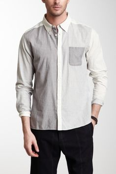 Long Sleeve Striped Colorblock Shirt