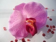 CLIP CORSAGE PINCE CHEVEUX GRAND FLEURON ORCHIDEE ROSE fleurs artificielles