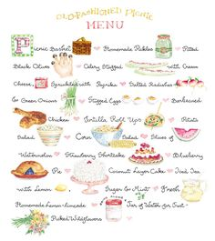 Summer Picnic Menu - Susan Branch is from Martha's Vineyard Susan Branch Blog, Picnic Foods, Picnic Snacks, Picnic Recipes, Sandwich Recipes, Picnic Time, Picnic Dinner, Food Illustrations, Afternoon Tea