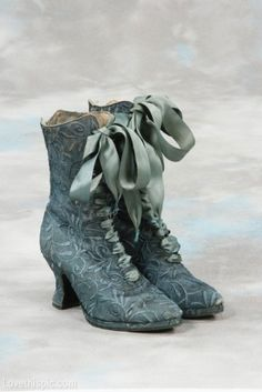 Victorian Shoes fashion blue vintage shoes old antique victorian historical 19th century - WANT THESE!!