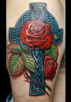 Roses Celtic Cross Tattoos Wonderful Blue Detailed Celtic Cross Tattoo Carried With Realism Roses.
