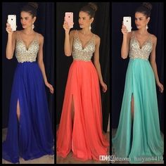 2017 New Prom Dresses V Neck Evening Dress Royal Blue Crystal Beaded Chiffon Side Split Long Party Dress Pageant Plus Size Formal Gowns 2017 Prom Dresses Crystal Prom Dresses Prom Dresses Long Online with $147.43/Piece on Haiyan4419's Store | DHgate.com