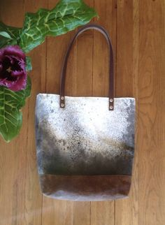 Wax Tote Bag hand painted bag organic cotton canvas by AlannahBrid www.alannahbrid.com