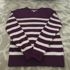 Banana Republic Tripe Sweater in Dark Purple Banana Republic Striped sweater in purple and white in size small. Thick warm sweater, some very slight pilling under arms. Banana Republic Sweaters Crew & Scoop Necks