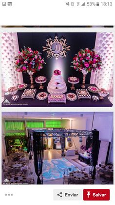 Decoração aniversário Debut Decorations, Quinceanera Decorations, Fiesta Decorations, Wedding Decorations, Cake Table Backdrop, Cake Table Decorations, Birthday Celebration, Birthday Parties, Creative Party Ideas