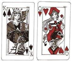 These A King Of Spade Card And Queen Hearts