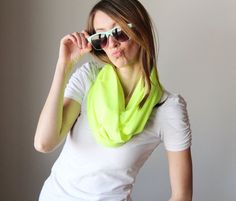 Neon green/ yellow infinity scarf by JaneInJuly on Etsy, $20.00