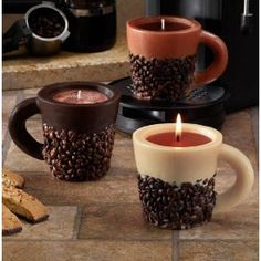 idea, coffe bean, coffee beans, candles, coffe candl, coffee cups, home kitchens, novelti candl, coffe cup