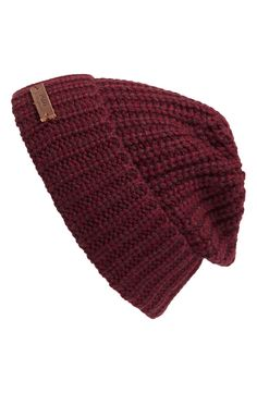 So warm and stylish. Love this burgundy knit beanie for men.