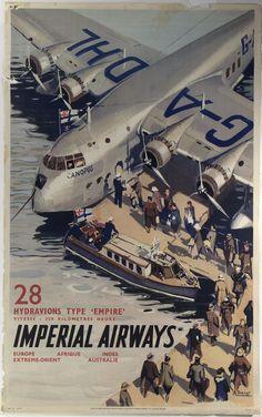 """Embarque de pasajeros en el hidroavión """"Canopus"""" (Short Empire Flying Boat). Texto completo: 28 Hydroaviones Tipo """"Imperio""""; velocidad 320 kilometros por hora; Imperials Airways Europa Africa India Extremo-Oriente Australia"""