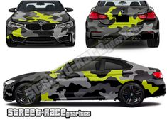 Army camouflage part wrap vehicle graphics shown on a BMW Army Camouflage, Bmw M4, Bmw Cars, Baby Car Seats, Wraps, Racing, Graphics, Vehicles, Cars