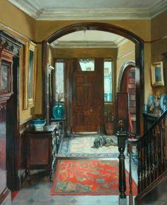 'The Front Door' (1940) English painter   Mary Dawson (Bishop) Elwell  (1874-1952).