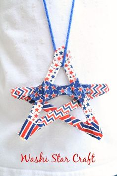 Washi Star Craft~Easy 4th of July craft for kids. Use them as necklaces are make a bunch and create bunting to hang for holiday celebration.