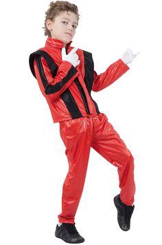 Disfraz rojo de estrella del pop para niño. ¡Bad! Disponible en www.vegaoo.es
