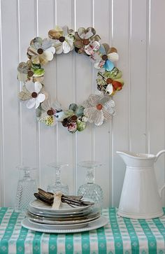 Another heart punch magazine page wreath - could also use old Christmas/birthday cards