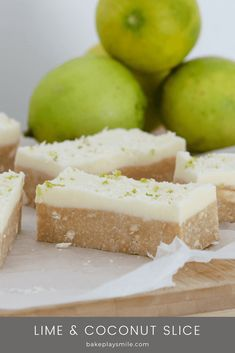 The easiest and most delicious Lime & Coconut Slice you'll ever make! Made from crushed biscuits, butter, sweetened condensed milk, coconut & lime juice with a creamy and tangy lime frosting. Baking Recipes, Dessert Recipes, Jelly Recipes, No Bake Recipes, Citrus Recipes, Healthy Recipes, Most Popular Recipes, Favorite Recipes, No Bake Slices