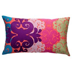 Embroidered and appliqued cotton pillow.   Product: PillowConstruction Material: CottonColor: Pink, ma.......live the pattern