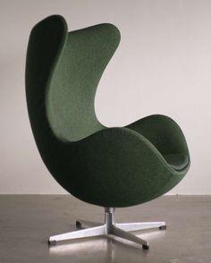 'Egg' Chair  :  Arne Jacobsen.  Original vintage 2-tone green wool. Denmark       c1963
