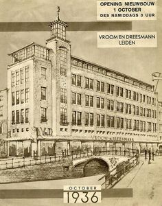 Nieuwbouw Vroom & Dreesmann. Aankondiging van de opening op 1 oktober 1936. Het gebouw is ontworpen door Leo en Jan van der Laan. Rotterdam, Haarlem Netherlands, Amsterdam Shopping, South Holland, Vintage Travel Posters, Vintage Ads, Old Pictures, Dutch, City