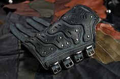 This Techno-industrial men's leather bracer is just one of the custom, handmade pieces you'll find in our accessories shops. Leather Bracers, Leather Cuffs, Leather Tooling, Grey Leather, Leather Men, Leather Stamps, Leather Wristbands, Stuff And Thangs, Leather Projects