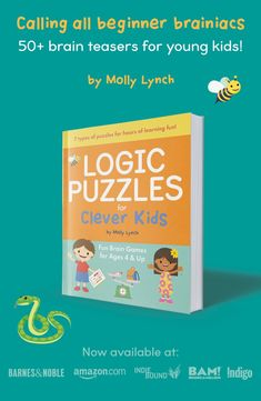 Calling all beginner brainiacs! Logic Puzzles for Clever Kids is filled with over 50 logic games and activities to build your child's brain!