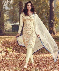 Tussar Silk Machine Work Cream Floral Print Unstitched Churidar Suit - 6514