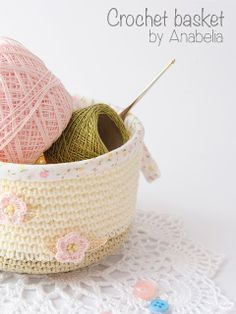 Crochet basket by Anabelia. *Requires translation for English. ☀CQ #crochet #bags #totes