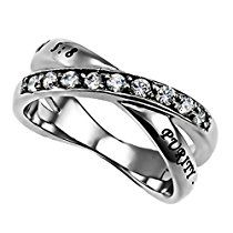 Purity Ring for Girls, Stainless Steel with Simulated Clear CZ, Christian Bible Verse, Beatitudes