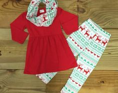 Baby Girl Christmas Outfit, Monogram, Aztec Leggings, Girl Clothes, Reindeer Outfit Baby Girl Clothes Toddler Girl Outfit Scarf Set