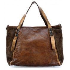 Felce Handtasche unterschiedlich strukturiertes Rindsleder khaki