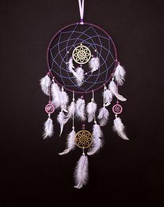 Violet Dream Catcher, Large dream catcher, Dreamcatcher, fashion accessory, February trend, home decor, Hand made, purple feathers,