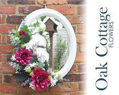 Mirror by OakCottageFlowers on Etsy Artificial Flower Arrangements, Vase Arrangements, Artificial Flowers, Large Flowers, Silk Flowers, Flower Room Decor, Flower Mirror, Mirror Wall Art, Mirrors