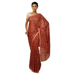 Dark Pink With Red And Green Thread And Sequence Saree Without Blouse