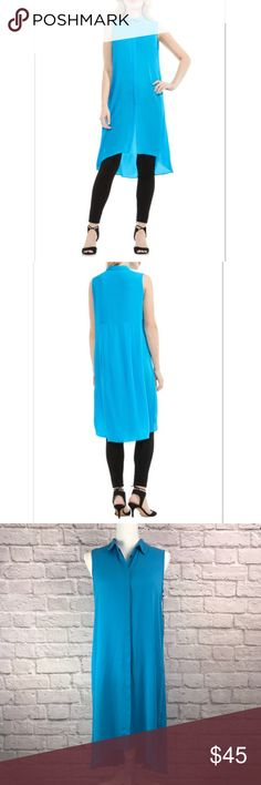 "Vince Camuto Long Hi-Lo Tunic In Havana Blue New With Tags! Vince Camuto Women's Long Hi-Lo Tunic In Havana Blue. Point collar and hidden front button closure. Item comes from smoke-free home.   Size: XS   Material: 100% Polyester   Measurements: Underarm to underarm – 18"" Total Length – 37"" front                          41"" back Vince Camuto Tops Tunics"