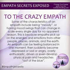 You're an Empath, Not Crazy! – Guided By Spirit: Chronicling My Journey of Awakening Empath Traits, Intuitive Empath, Psychic Empath, Empath Abilities, Psychic Abilities, Infp, Psychic Development, Personal Development, Sensitive People