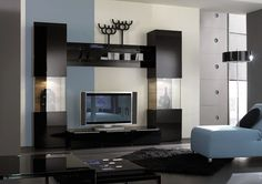 Trend Black And White Painting Ideas For Contemporary Living Rooms Interior Design With Excecutive Cupboard Entertainment Wall Unit Tv And Fashionable White Faux Leather Chaise Lounge Sofa Above Black Woven Shag Rugs With Wall Paint Colours Plus House Paint Ideas, NIce Favorite Living Room Painting Ideas: Interior, Living Room