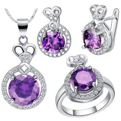 Find More Jewelry Sets Information about Wholesale Drop Shipping Wedding Purple Bridal Bridesmaid Jewelry Set Ring Necklace Earrings Cheap Costume Jewelry Ulove T462,High Quality jewelry findings sterling silver,China jewelry travel Suppliers, Cheap jewelry making tools and equipment from ULOVE Fashion Jewelry on Aliexpress.com