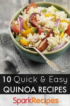 10 healthy (and FAST) #quinoa #recipes. These look SO good--especially the casserole!   via @SparkPeople #healthy #recipe #vegetarian #protein