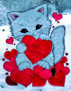WICOART STICKER WINDOW COLOR CLING FAUX STAINED GLASS ST VALENTIN KITTY BE MINE