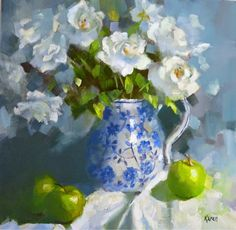 KAREN'S CANVAS: Icebergs in blue and white jug